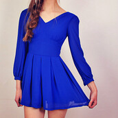 dress,cobalt blue,mini dress,pleated dress,skater dress,v neck dress,long sleeve dress