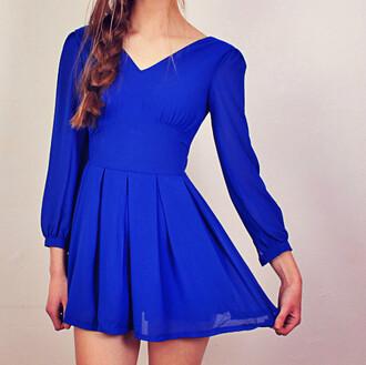 dress cobalt blue mini dress pleated dress skater dress v neck dress long sleeve dress