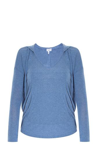hoodie draped blue sweater