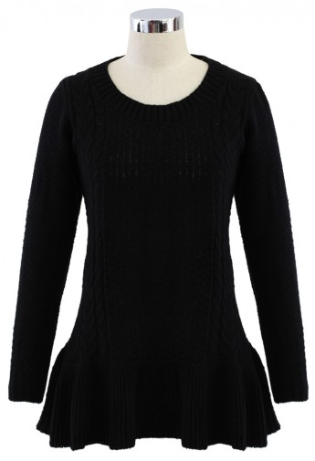 Frill Hem Knitted Top in Black - Retro, Indie and Unique Fashion