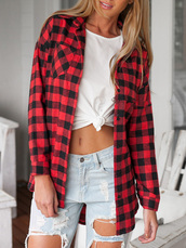 shirt,Choies,long sleeve shirt,dipped hem shirt,red plaid shirt,28719