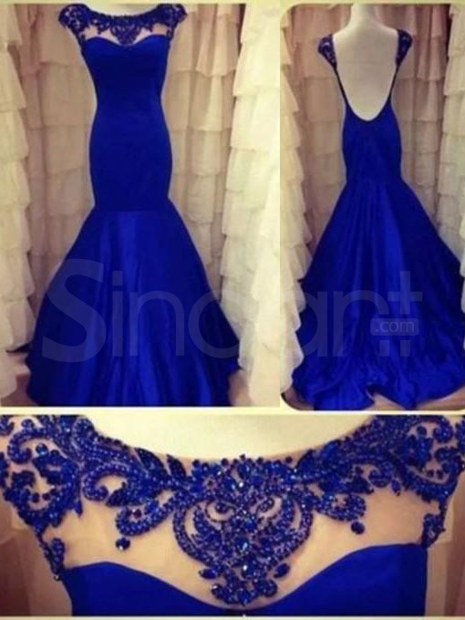 Buy Amazing Popular Royal Blue Mermaid/ Trumpet Round Neckline Sweep Train Prom Dress under 300-SinoAnt.com