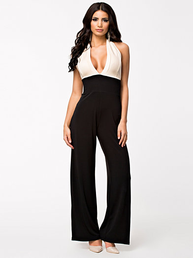Halter Jumpsuit - Quontum - Cream/Black - Jumpsuit - Clothing - Women - Nelly.com Uk
