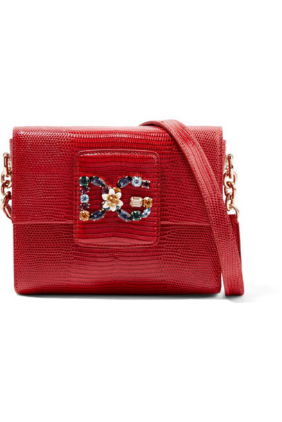 embellished bag shoulder bag leather red