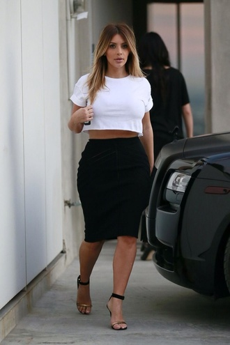 skirt kim kardashian sexy white black crop tops