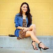 hapatime,girly,casual,leopard print,denim jacket,denim,denim shirt,jean jackets,high heels,heels,black heels,black high heels,stilettos,jacket,hapa time