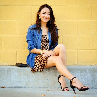 hapatime girly casual leopard print denim jacket denim denim shirt jean jackets high heels heels black heels black highheel stilettos jacket hapa time
