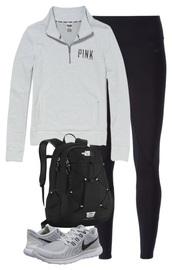 sweater,pink by victorias secret,grey,backpack,leggings,nike,sneakers