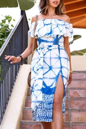 dress white blue summer off the shoulder slit dress feminine sexy ruffle