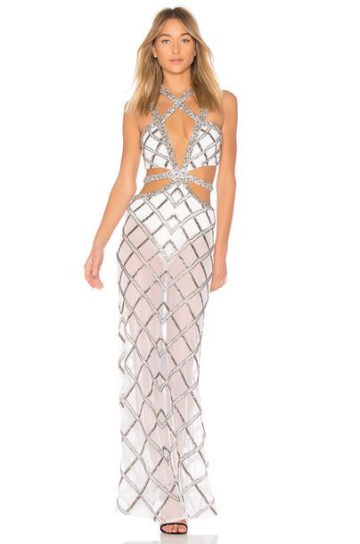 X BY NBD gown metallic silver dress