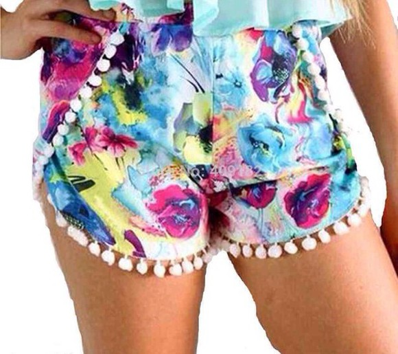 floral shorts colorful
