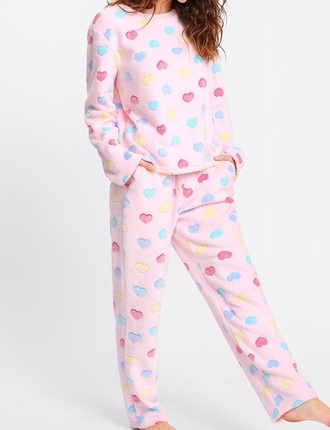 pajamas girly pink fur two-piece matching set pajama pants home girl pajamas cute heart