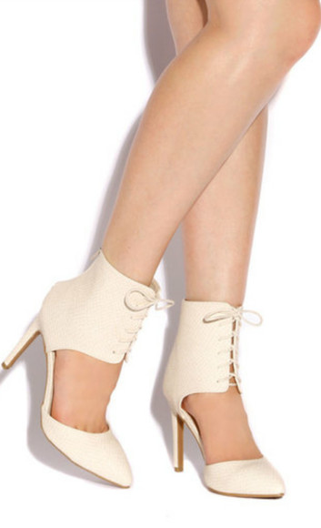 cut-out shoes high heels cream