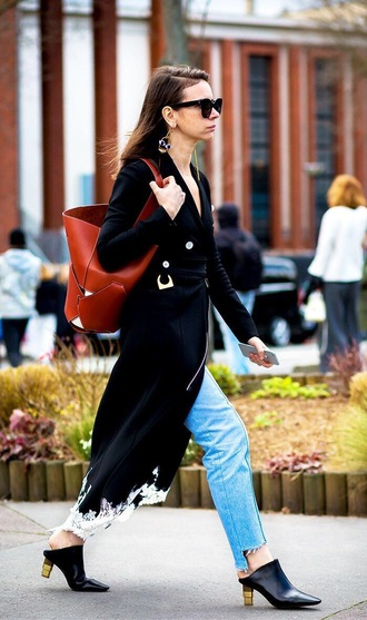 coat black coat blue jeans shoes mules sunglasses bag brown bag jeans denim heels