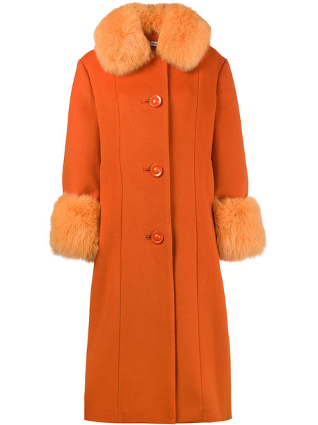 Saks Potts coat fur fox women wool yellow orange