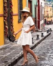 dress,spring dress,hat,bag,spring outfits,white dress,mini dress,wrap dress,sandals,sandal heels