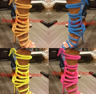 shoes neon colorful pink blue yellow green heels sandals high heels open back