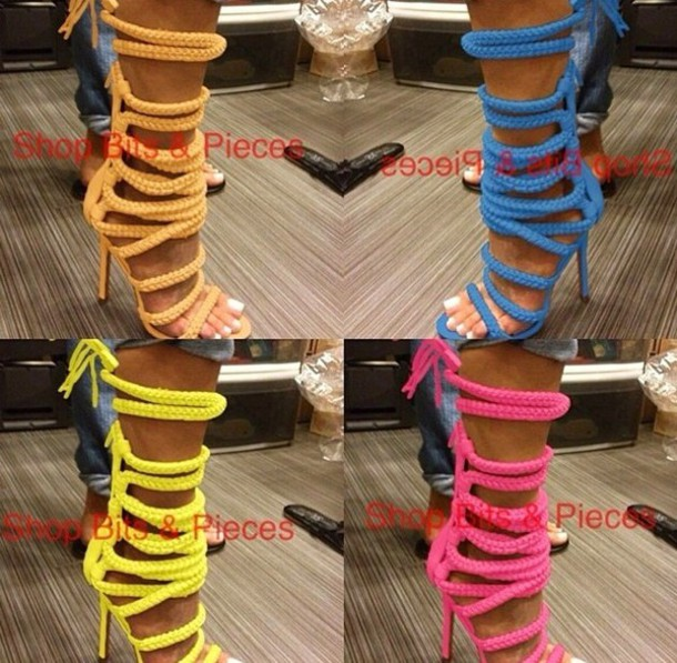 shoes rope lace up heels lace up open toes monikah chang monika chiang lace up heels booties shoes boots booties sandals lace up sandals rope strings heeled sandal neon rope heels sandal heels colorful pink blue yellow green heels high heels open back