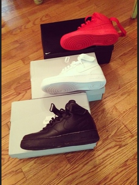 shoes, red, nike, nike shoes, guys, girl, nike air force 1