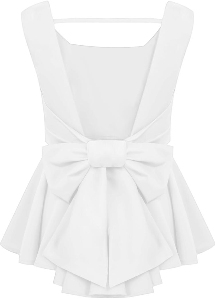 White Sleeveless Backless Bow Ruffle Top - Sheinside.com