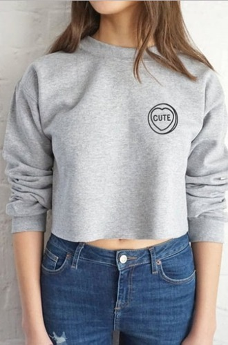 sweater girl girly crop cropped cropped sweater grey cute girly wishlist