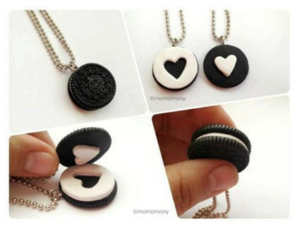 jewels oreos jewelry heart necklace chain cute