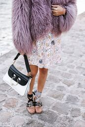 coat,tumblr,fuzzy coat,violet,lilac,bag,black and white,j w anderson,ballet flats,flats,miu miu,dress,printed dress,pastel,pastel dress,pastel coat,studded shoes,JW Anderson bag