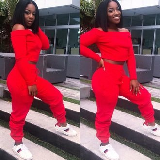 jumpsuit red off the shoulder wild thoughts rihanna wild thoughts cute tracksuit crop tops red crop top red sweat pants sweatpants plus size plus size outfit sweatshirt cute sweaters