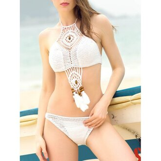 swimwear white crochet summer fringes beach trendy fashion rose wholesale-ap