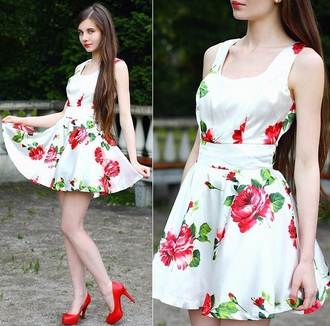 dress red dress floral dress cute dress white dress fashion