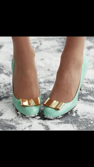 shoes heels light blue gold bow snow seafoam green