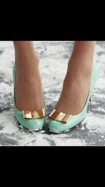 shoes heels light blue gold bow snow seafoam green
