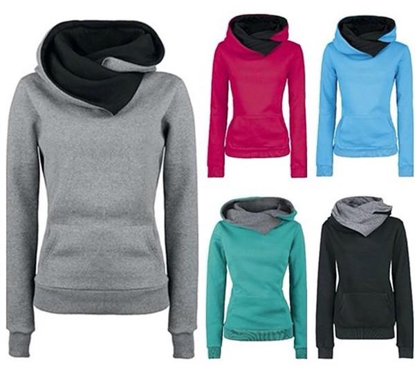 black/grey long sleeves hoodie jumper sportswear sweater coat teal cowl