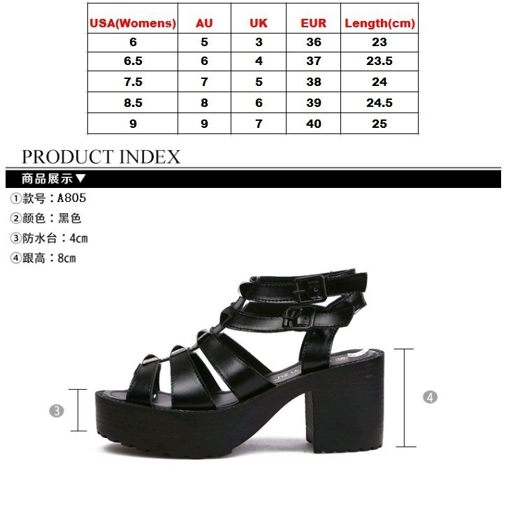 Womens Open Toe Studded Punk Chunky Heels Platform Buckle Strappy Sandals Shoes-in Pumps from Shoes on Aliexpress.com