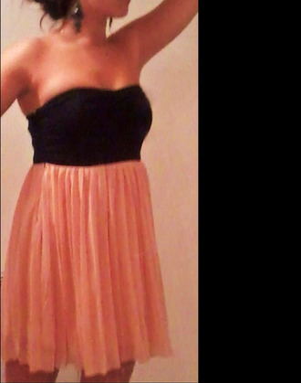 dress bicolor black and pink