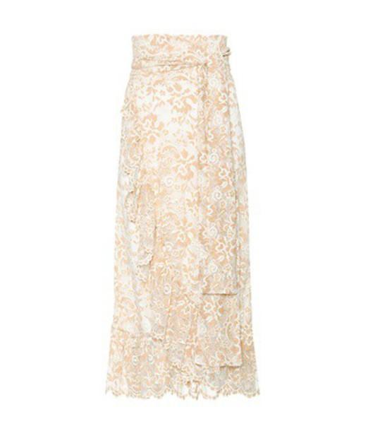 Ganni skirt wrap skirt lace beige