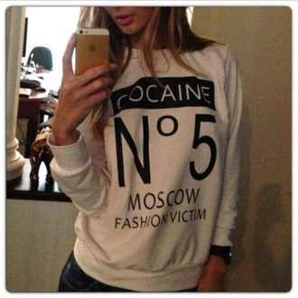 sweatshirt long sleeves white pullover cotton letter print moscow fashion cocaine white sportswear omg girlz we love you bahja new york city hoodie