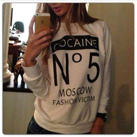 white sweatshirt pullover long sleeves sportswear cotton letter print moscow fashion cocaine white