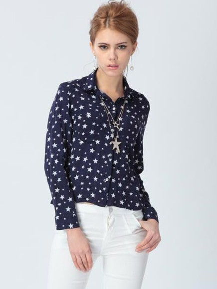 blouse floral long sleeve banggood lapel bluse star