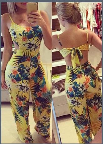 jumpsuit floral jumper floral print jumpsuit print rompers romper floral romper back out open back