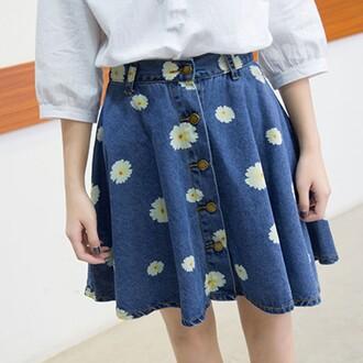 skirt daisy jeans denim floral cute girly spring boogzel