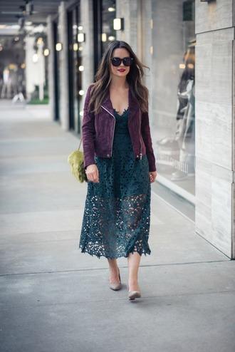 thestyledfox blogger dress jacket shoes jewels sunglasses fall outfits lace midi dress purple jacket suede jacket furry bag pumps shoulder bag green bag