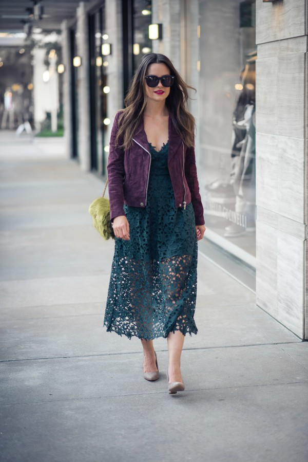 thestyledfox blogger dress jacket shoes jewels sunglasses fall outfits lace midi dress purple jacket suede jacket furry bag pumps shoulder bag green bag