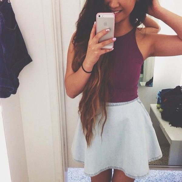 blouse tank top skirt jean skirt skater skirt