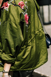 jacket,tumblr,green jacket,embroidered,army green jacket,embellished,embellished jacket,floral,rose embroidered