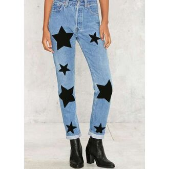 jeans nastygal denim levi's leather stars pockets blogger cuffed jeans