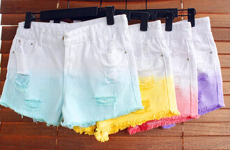 shorts ripped candy color
