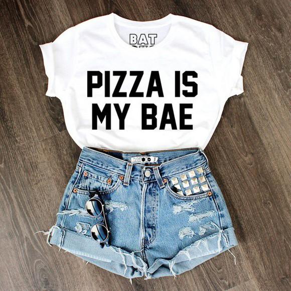 quote on it t-shirt white t-shirt pizza batoko www.batoko.com white crop top. top pizza shirt bae