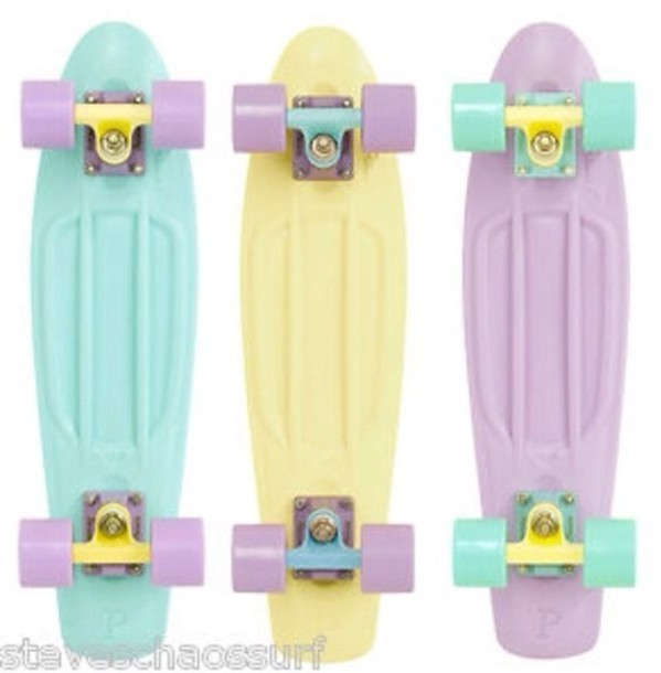bag penny board colorful pink yellow purple green tights penny board