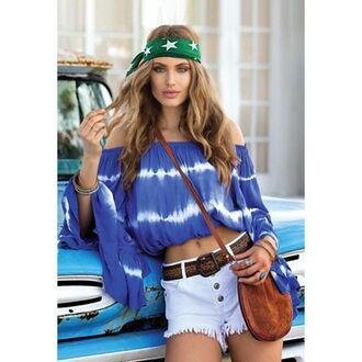 top tie dye crop tops cropped blue blue shirt boh chic bikiniluxe tie dye shirt coachella blue top boho shirt elan